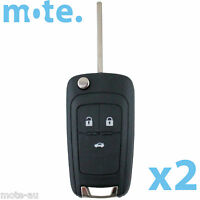2 x Holden Barina/Cruze/Trax 3 Button Remote Flip Key Blank Shell/Case/Enclosure