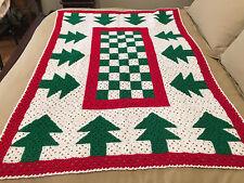 Handmade Afghan / Throw Blanket - Designer Collection - Green Christmas Trees