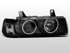LPBM68 Fari Fanali Anteriori BMW serie 3 E36 90-99 4 porte a led Angel Eyes nero