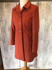 Gorgeous Sisley Orange Wool Cashmere Blend Coat With Pockets Uk14