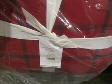 Pottery Barn Anderson Windowpane full queen sherpa plaid Christmas Blanket New
