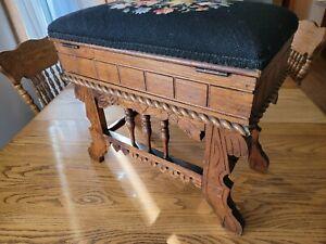 Antique Eastlake Victorian Oak Stool Bench Slipper Compartment Needlepoint Top