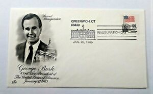 VTGE George HW Bush First Day 2nd Inauguration GREENWICH Cover January 20,1985