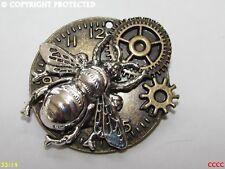 Steampunk Pin Insignia Broche De Plata Reloj De Reloj De Bronce Abeja Manchester reloj