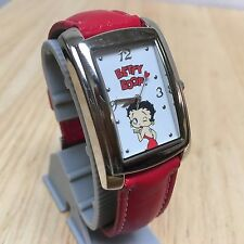 Nice Betty Boop Men Lady Red Band Rectangle Analog Quartz Watch Hour~New Battery