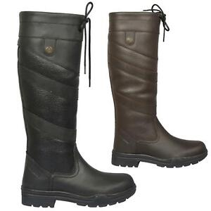 Ladies Mens Equestrian Country / Riding Boots - Classic Leather Waterproof Boots