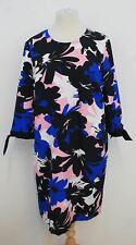 GERRY WEBER Ladies Black White Pink Blue 3/4 Sleeve Floral Dress UK20 BNWT