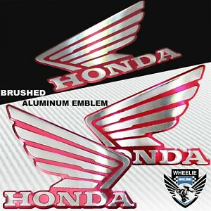 METAL DARK HOT PINK/RED&CHROME HONDA WING LOGO DECAL EMBLEM TANK/FENDER STICKER