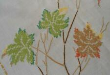 """New listing Vintage Embroidered Tablecloth Maple Leaves Branches Cross Stitch Linen 81"""""""