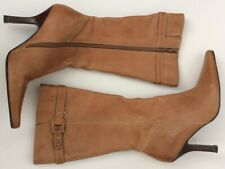 Lilly & Skinner Uk5.5 Distressed Tan Leather Calf Length Boots Slim Heel 4""