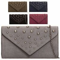 Ladies Faux Suede Studded Clutch Evening Bag Party Envelope Handbag Purse KT2077