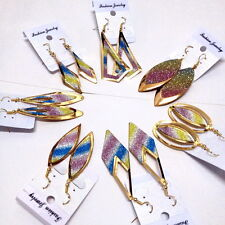 wholesale lots mixed 20pairs colors bright vogue lady's gold p dangle earrings