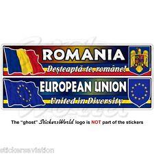 Rumania-bandera de la Unión Europea-Escudo de Armas Pegatina Calcomanía 180mm rumano-Europa