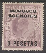 MOROCCO AGENCIES SPANISH CURRENCY 1907 KEVII 3 PESETAS ON 2/6
