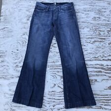 "7 for All Mankind DOJO Flare Leg Stretch Jeans Tag 28 Actual 32""x31"" 7FAM Jewel"