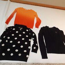 Lot of 3 women sweaters Abercrombie navy orange Miami black forever 21 size S