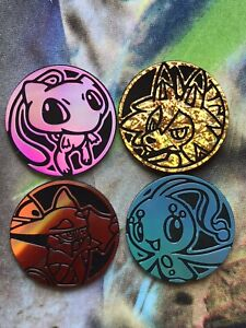 Pokemon Coins Volcanion Mew Lycanroc Manaphy x 4 TCG Tracked Post