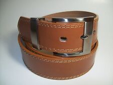"""Men New Tan Leather Belt with Smoke Buckle 34"""" #5647"""