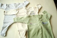 Boys 6 pc BUNDLE 0-3 m MOTHERCARE  Baby grows, Bib & hat set Blue Green Cream