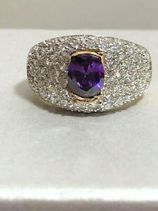 SPARKLY Gold Over Sterling Cubic Zirconia CZ Amethyst Oval Statement Ring Size 7