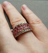 RARE VINTAGE 9ct GOLD RING WITH 19 RUBIES AND DIAMOND CLUSTER