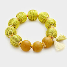 Fashion Trendy Lime Thread wrapped wood ball stretch bracelet with tassel charm