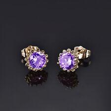 HUCHE Flower Style Gold Filled Purple Sapphire Amethyst Women Wedding Earrings