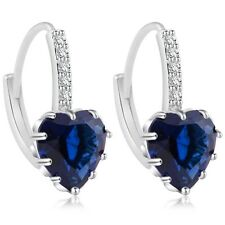 18K White Gold GP Zircon Crystal Heart Earrings Drop Earrings Bridal Earrings