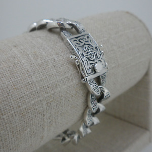 """8"""" Celtic Knot Curb Bracelet Sterling Silver Made by Keith Jack Gift Boxed"""