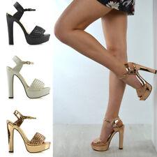 Bloque de plataforma para mujer Tacón Alto Sandalias Tira al Tobillo Zapatos de noche de fiesta de mujer
