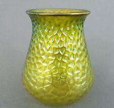 Jugendstil Glas Vase, wohl Kralik Böhmen um 1900, grün überfangen, Höhe 13 cm
