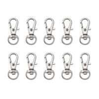 100PCS Alloy Clip Keychain Lobster Clasps Lanyard Swivel Loop Hook Platinum 30mm