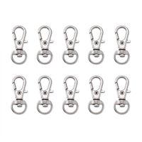 100PCS Alloy Clip Keychain Lobster Clasps Lanyard Swivel Loop Hook Platinum 30mm
