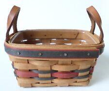 Longaberger American Small Tea Basket Leather Handles Plastic Insert 1993