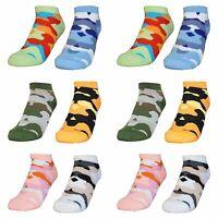 12 Paar Kinder Sneaker Socken | Jungen & Mädchen Camouflage Füßlinge