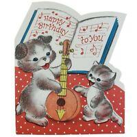 Diecut Happy Birthday to You Greeting Card Buzza Cardozo Dog Cat Bass Vintage