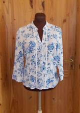 PER UNA M&S ivory off-white blue floral TOILE 3/4 sleeve blouse shirt top 12 40
