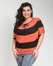Rayon Short Sleeve Striped Plus Size Tops & Blouses for Women