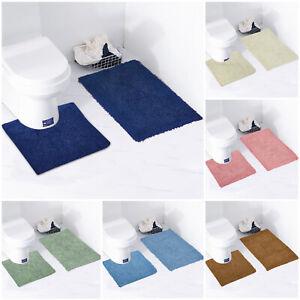 2 Piece Bath Mat Set Soft 100% Cotton Toilet Pedestal Set Non Slip Absorbent
