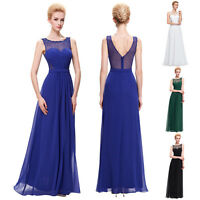 STOCK Long Maxi Ball Gown Evening Prom COCKTAIL Party Bridesmaid Wedding Dress