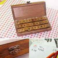 30x Vintage Rubber Stamp Alphabet Wooden Box Set Print Style Letter Stamper Set