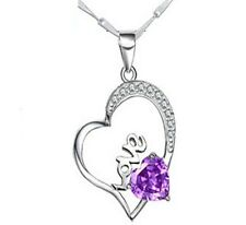 "18"" Sterling Silver Infinity Love Amethyst CZ Heart Pendant Necklace Chain G8"