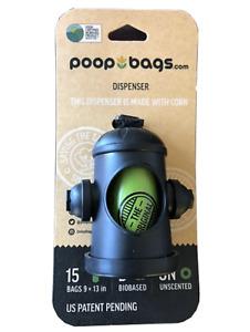 NEW Biobased Black Poop Bag Dispenser Fire Hydrant by The Original Poop Bags