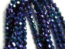 Vintage Antique Blue Purple Carnival IRIS AB Facet 5mm Czech Glass Beads 150pcs