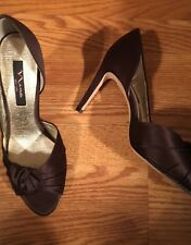 Nina Women Chocolate Brown Satin High Heel Pump Slip On Dress Shoe Sz 10 M