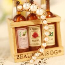 Fashion Women's Stud Ear Cuff Gold Filled White Faux Freshwater Pearl UK Seller