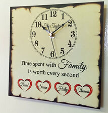 Personalised Family Children Love Home Clock Present Chic Gift Mother's Day