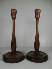 Antique Primitive Wooden Oak Candle Sticks