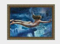 aquarelle watercolor A3 nude female drawing originale nu girl in water women