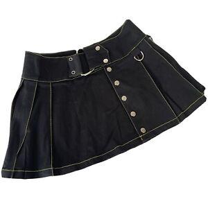 Lip Service SM Black Mini Pleat Skirt Yellow Y2K Goth Aesthetic Grunge Punk